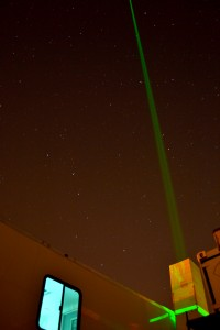 The SSEC High Spectral Resolution Lidar (HSRL) operating at the Boulder Atmospheric Observatory (BAO) in support of the Front Range Air Pollution and Photochemistry Experiment (FRAPPE), with a cameo by the big dipper